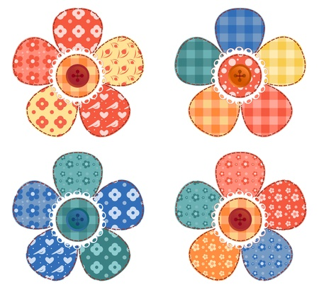 needlework: Set of four patchwork flower