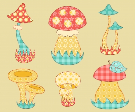 Vintage mushroom patchwork set