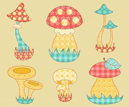 champignon magique: Vintage ensemble disparate de champignons