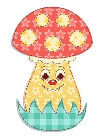 Cartoon patchwork mushroom 2 Vector
