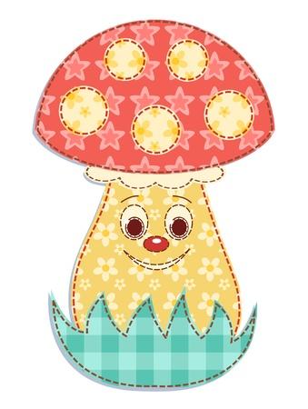edible mushroom: Cartoon patchwork mushroom 2