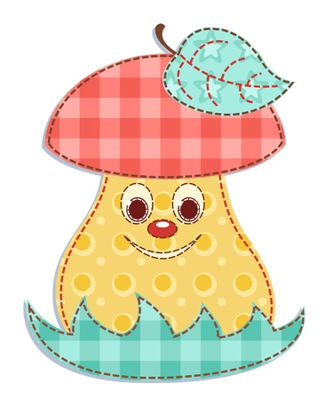Cartoon patchwork mushroom 1 Vector