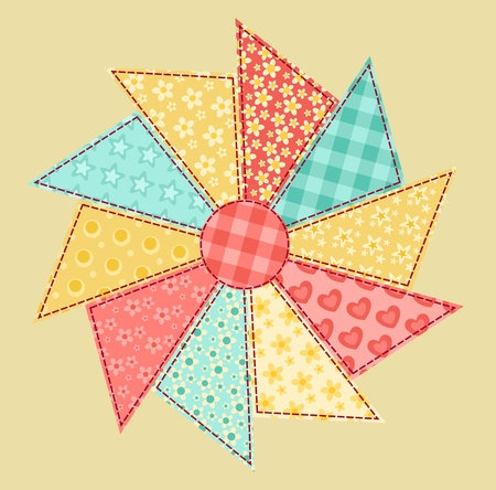 Patchwork abstract flower 1  Vector