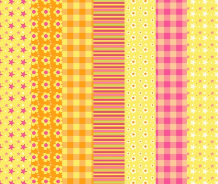 homespun: Set of simple seamless pattern 7. Vector backgroungs. Illustration