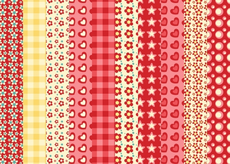 Set of 10 simple seamless pattern 1. Vector backgroungs. Vector