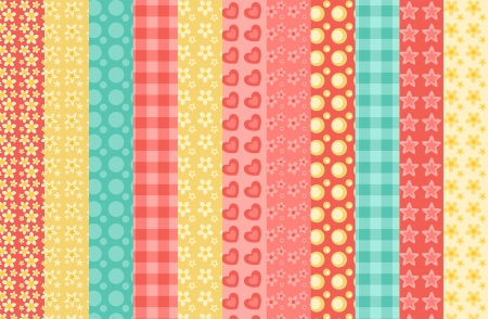 Set of 11 simple seamless pattern 2. Vector backgroungs. Vector