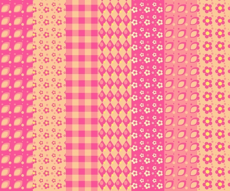 Set of 7 simple seamless pattern 4. Vector backgroungs. Vector