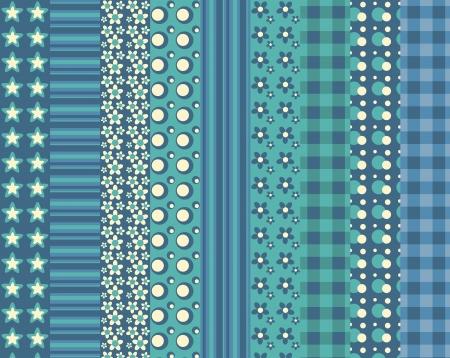 スクラップブッキング: 9 シンプルなシームレス パターン 5 のセットです。ベクトル backgroungs。  イラスト・ベクター素材