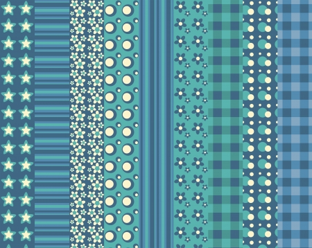 Set of 9 simple seamless pattern 5. Vector backgroungs.