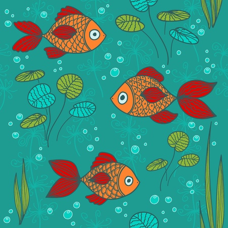 Fishes in a pond Vector