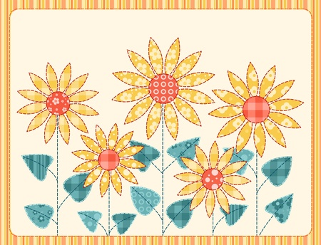 quilt: Patchwork sunflowers card  Illustration