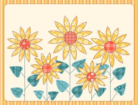 Patchwork zonnebloemen kaart