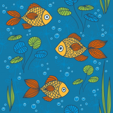 fish pond: Fishes seamless pattern
