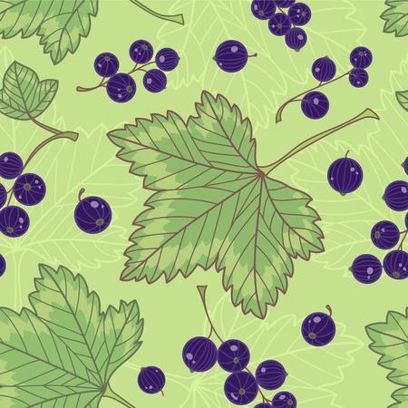 currants: Black currants seamless pattern  Illustration