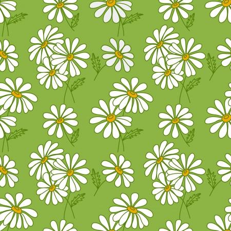ligh: Green seamless daisy pattern
