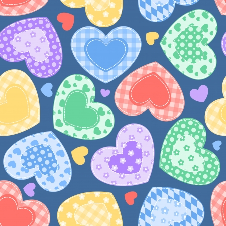 patchwork: Patchwork hearts on the blue  Illustration