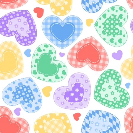 Patchwork hearts on the white  Vector