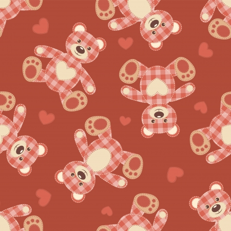 Seamless bear patchwork pattern  Vector