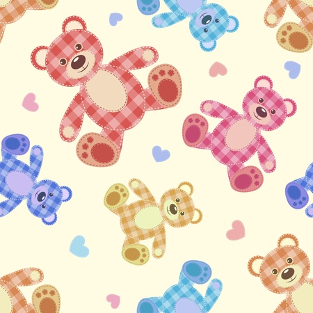Seamless bear light patchwork pattern  Vector