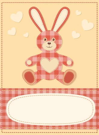 Card with the hare for baby shower 3 Vector