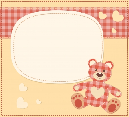Card with the teddy bear for baby shower Stock Vector - 15381607