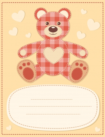 Card with the teddy bear for baby shower Stock Vector - 15381608
