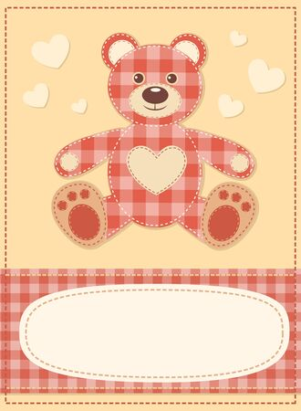 Card with the teddy bear for baby shower 3 Stock Vector - 15393379