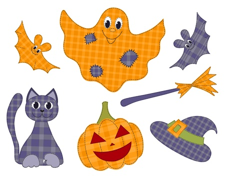 Halloween patchwork set Vector