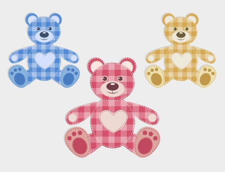 patchwork: Set of color teddy bear