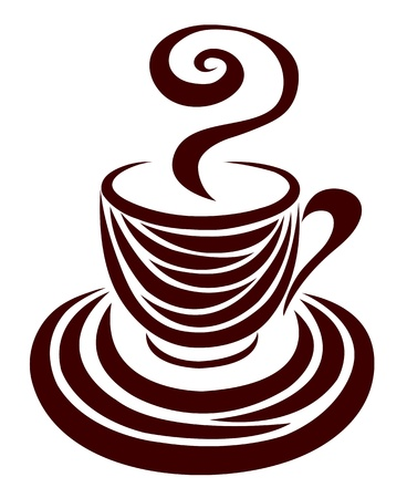 chocolate swirl: Decorative silhouette of a cup