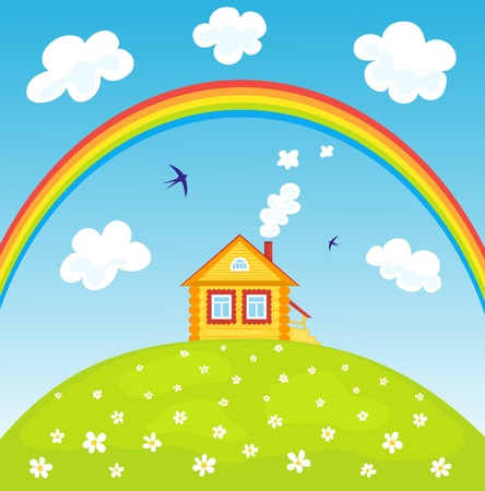 House and rainbow  Stock Vector - 16163374