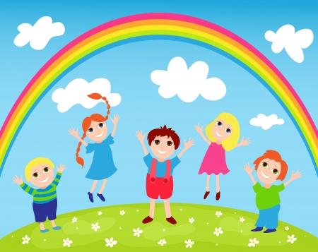 Children and rainbow  イラスト・ベクター素材