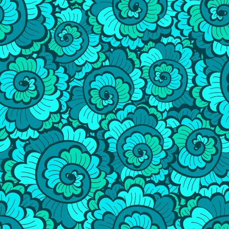 cockleshells: Seamless decorative wavy pattern green