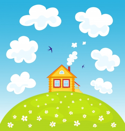 Summer house on the hill Stock Vector - 16163376
