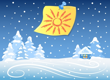 Winter landscape and sticker Vector