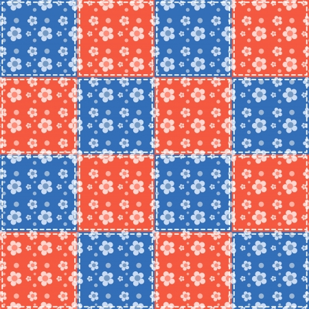 homespun: Blue and red flowers