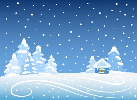 家と冬の風景