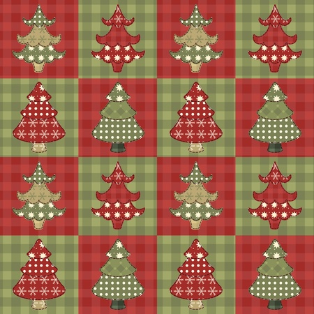 homespun: �rbol de Navidad seamless pattern 1