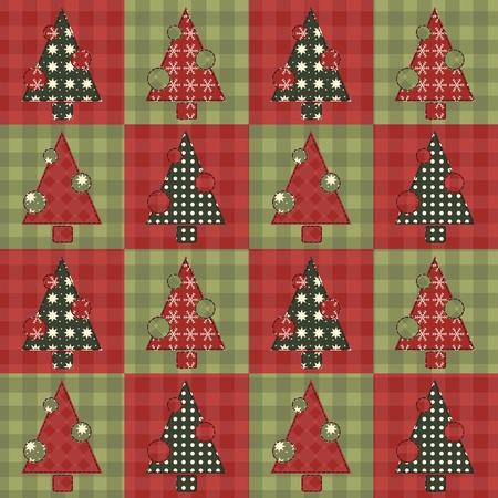 homespun: Christmas tree  seamless pattern 4