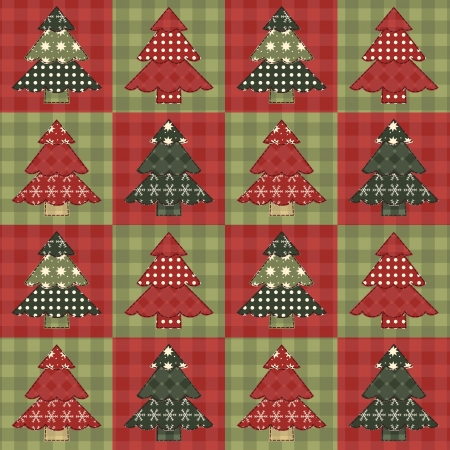 quilt: Christmas tree  seamless pattern 5