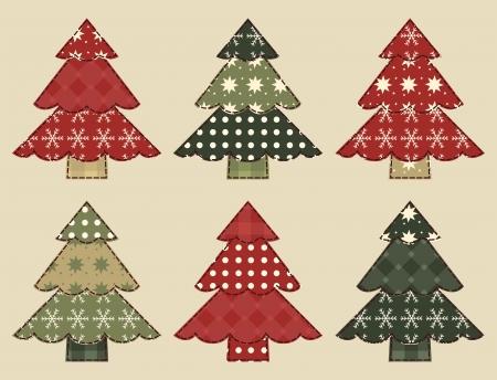 homespun: �rbol de Navidad set 3