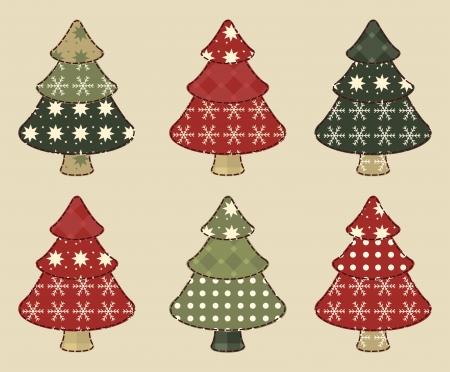 homespun: �rbol de Navidad fij� 4 Vectores