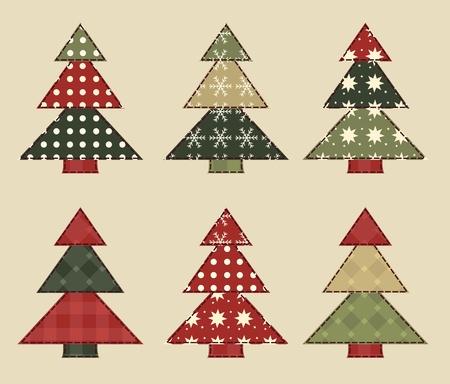 patchwork quilt: Christmas tree  set 5 Illustration