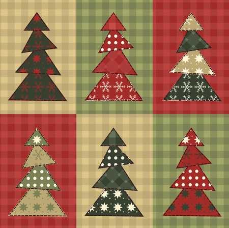 homespun: Christmas tree  set 7