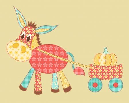 Burro patchwork  イラスト・ベクター素材