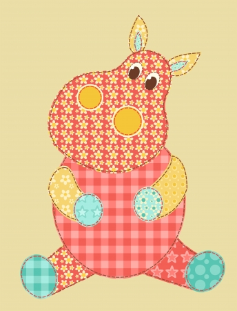 hippopotamus: Aplicación para niños. Hipopótamo. Patchwork series. Vector ilustración.