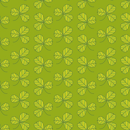 Green clover seamless pattern. Hand-drawing vector background. Vector