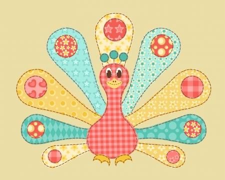 Children's application. Peacock. Patchwork series. Vector illustration. Stock Vector - 17218875