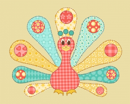 quilt: Childrens application. Peacock. Patchwork series. Vector illustration.