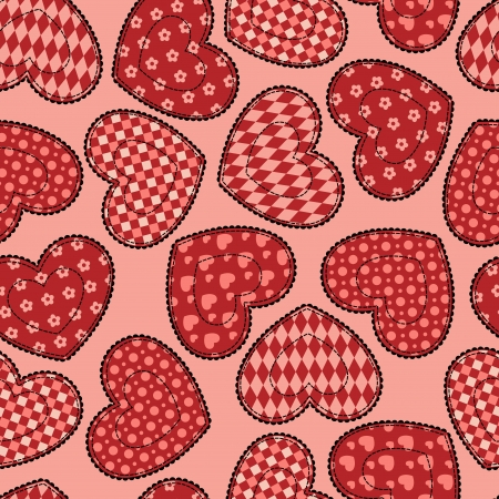 Patchwork hearts seamless pattern  Vector
